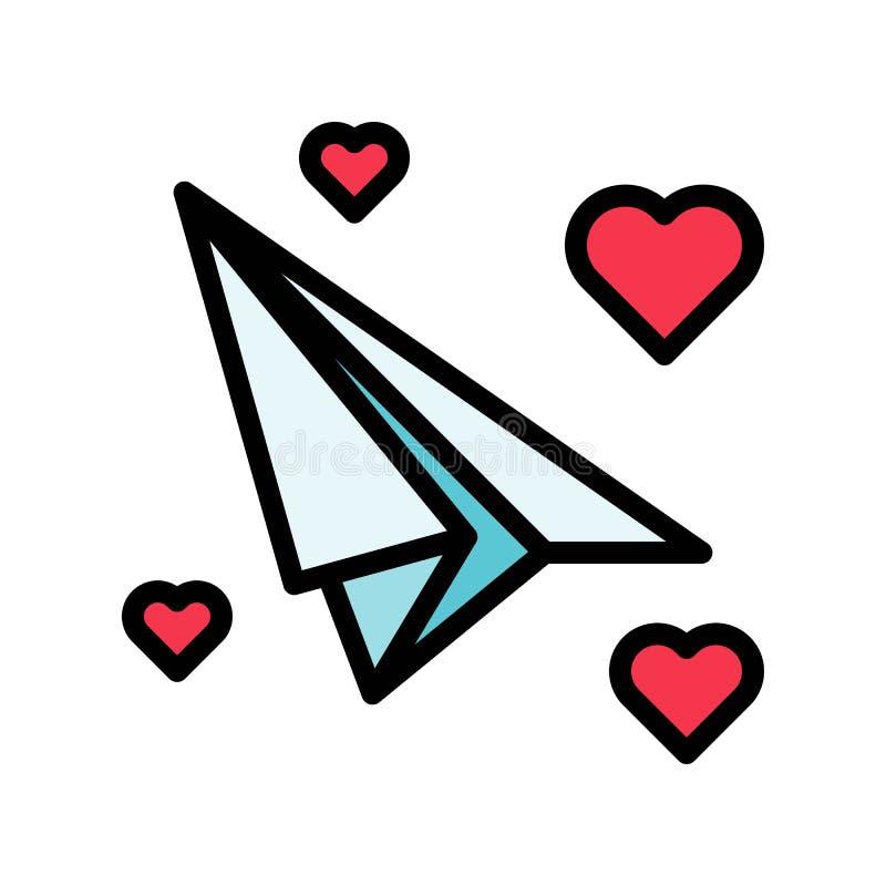 充满心脏传染媒介、华伦泰和爱的纸飞机关系了被填装的概述象 向量例证