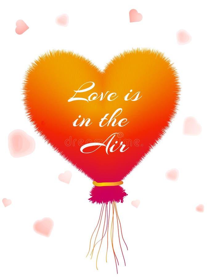 充满文本爱的热空气气球在天空中 皇族释放例证