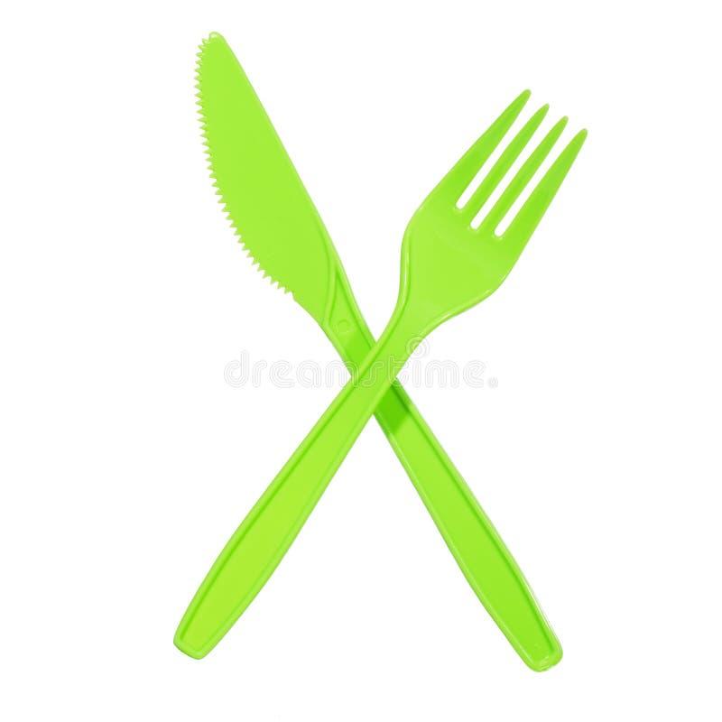 充满活力叉子绿色的刀子 免版税图库摄影
