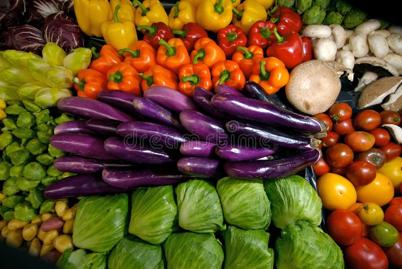充满活力显示的蔬菜 免版税库存照片