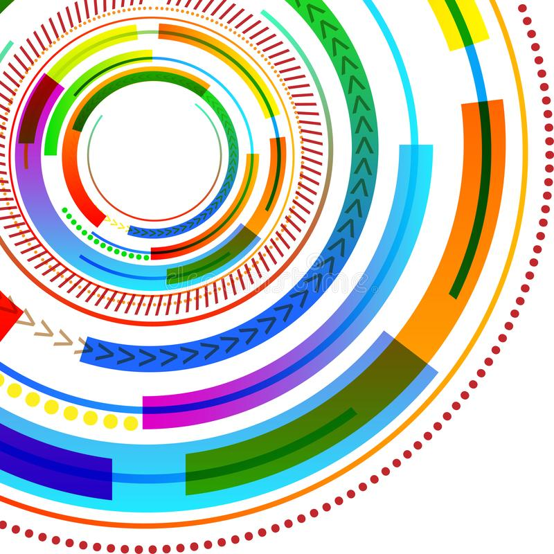 充满活力的多彩多姿的同心圆盘样式不同的纹理 数字图象的创造性的背景想法 皇族释放例证