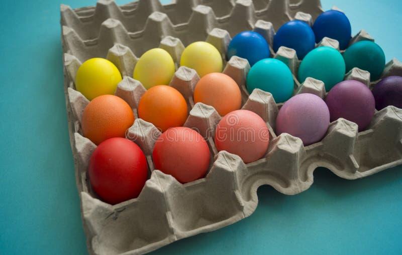 充满活力的手在被观看的纸板蛋盒的被洗染的五颜六色的复活节彩蛋 图库摄影