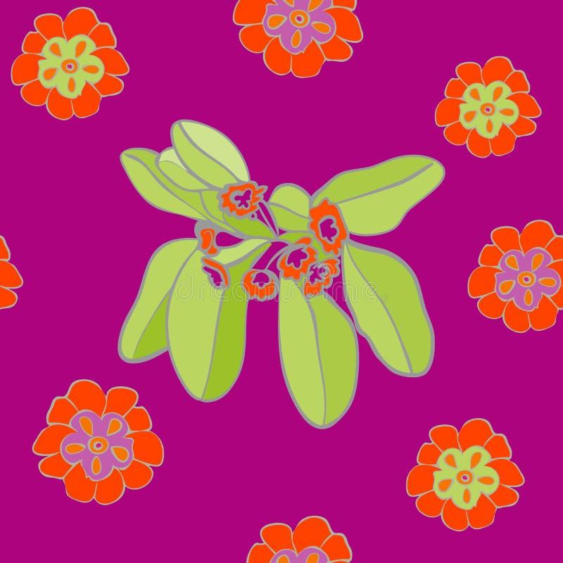 充满活力的紫罗兰色花卉样式无缝的背景传染媒介 向量例证