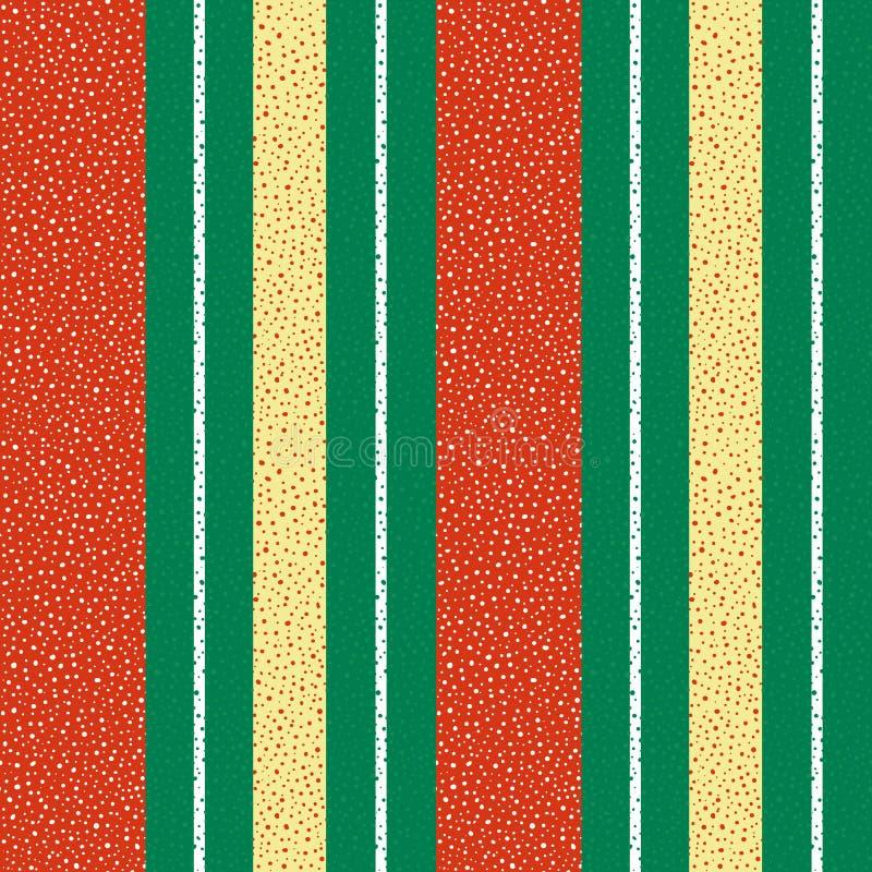 充满活力的红色、金子和白色被加点的垂直的镶边设计 在织地不很细绿色的无缝的几何传染媒介样式 皇族释放例证