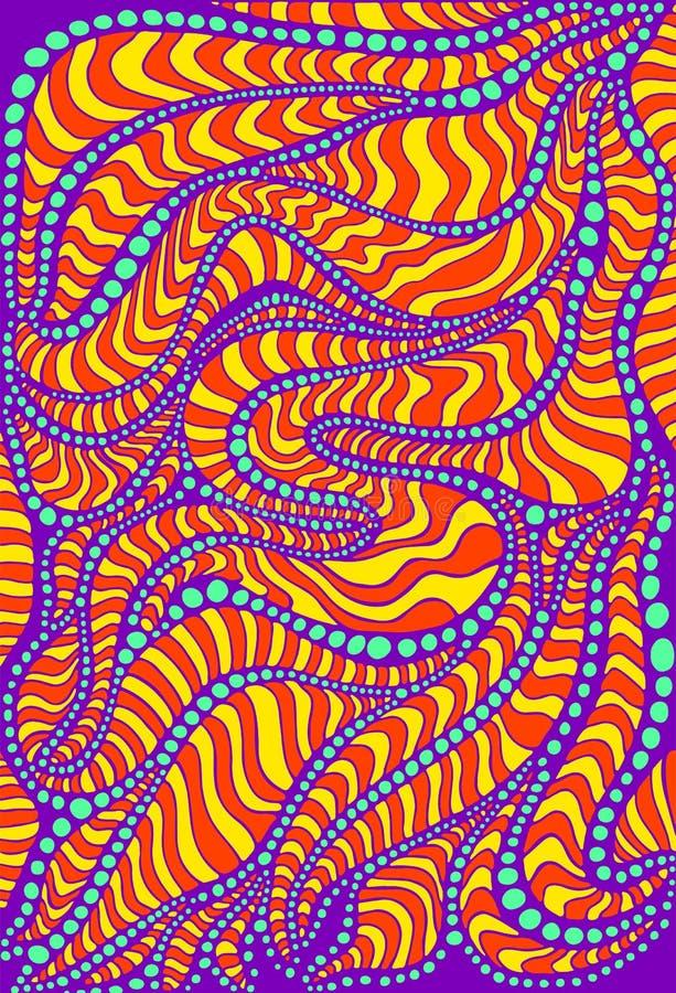 充满活力的荧光的五颜六色的超现实的背景 明亮的颜色提取与装饰品迷宫的纹理  皇族释放例证