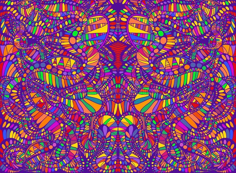 充满活力的荧光的创造性的五颜六色的对称万花筒背景 与迷宫的装饰超现实的抽象样式 皇族释放例证