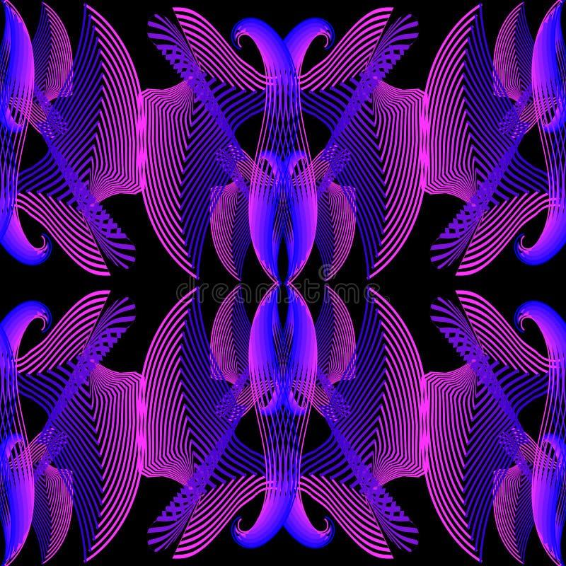 充满活力的被阐明的花卉传染媒介无缝的样式 霓虹五颜六色的发光的背景 Repet几何背景 提取现代 皇族释放例证