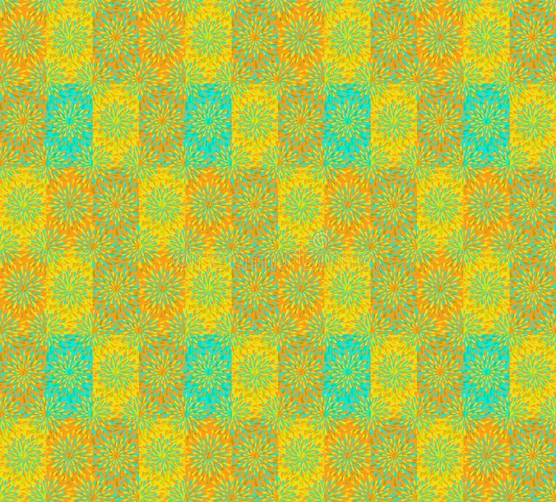 充满活力的黄色,橙色和蓝色现代花卉无缝的样式瓦片 库存例证