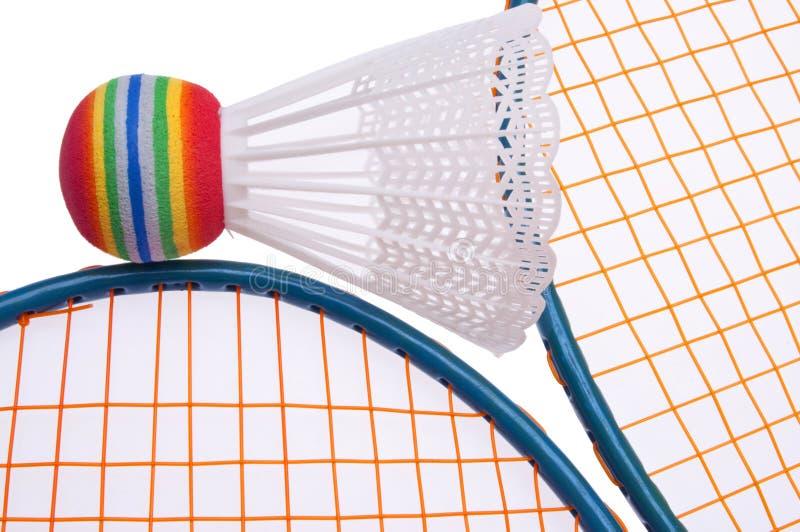 充满活力羽毛球的设备 库存照片