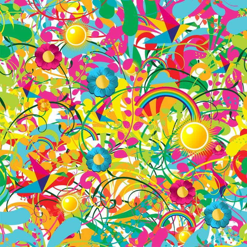 充满活力花卉模式的夏天 皇族释放例证