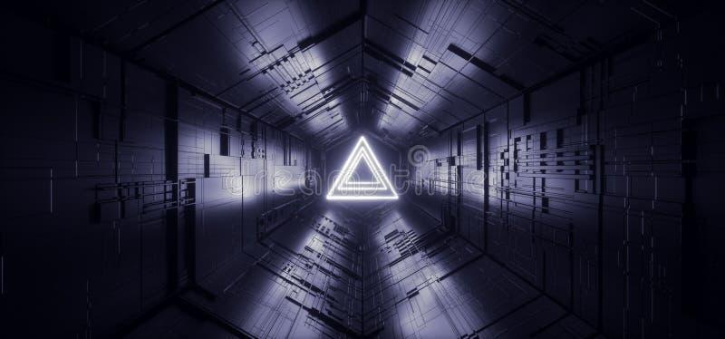 充满活力霓虹发光的激光蓝色三角科学幻想小说未来派技术概要主板矩阵芯片反射性门的门户 皇族释放例证