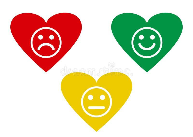 充满消极面带笑容的意思号,中立和正面,另外心情的红色,黄色和绿色心脏 ?? 向量例证
