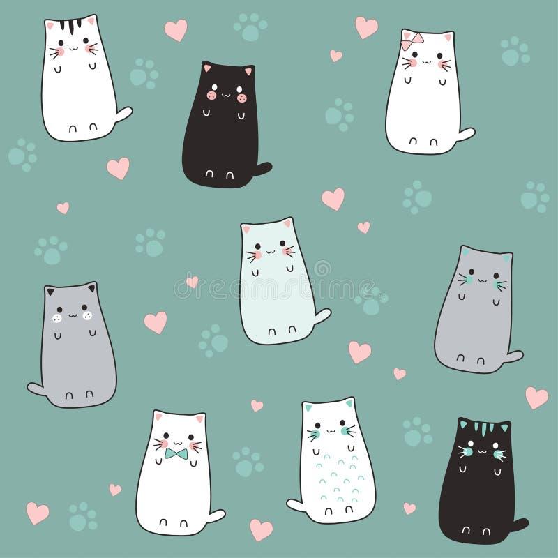 充满爱的逗人喜爱的猫动画片剪影 皇族释放例证