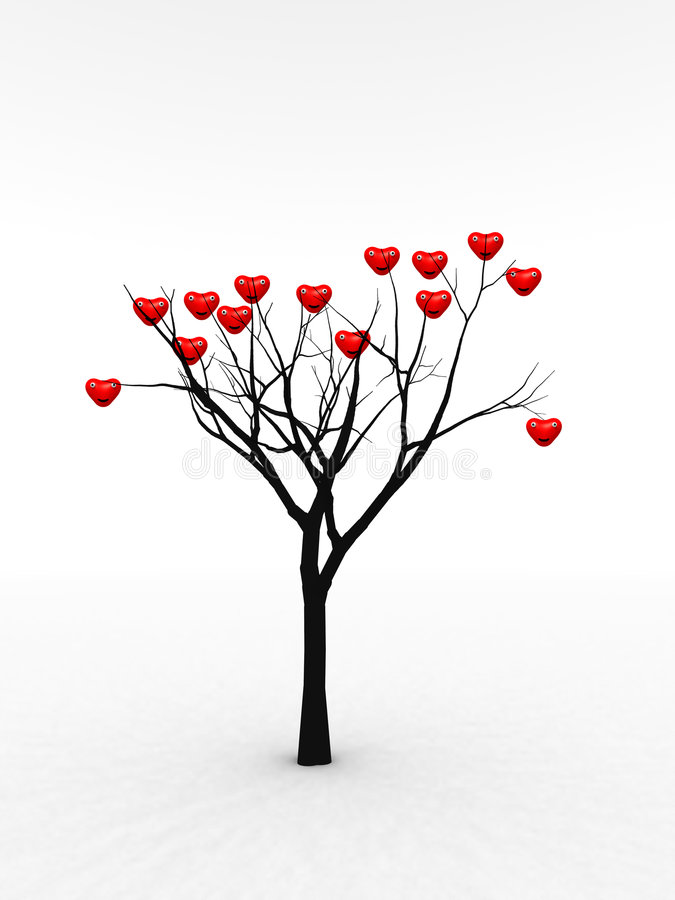 充满爱1的唯一结构树 向量例证