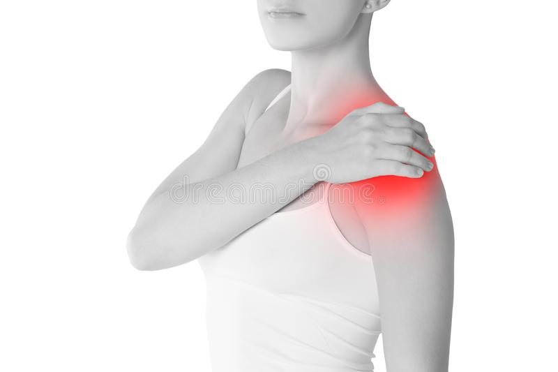 充满痛苦的妇女在白色背景隔绝的肩膀 库存照片