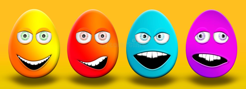 充满眼睛和愉快嘴的感觉,迷茫,恼怒的a的复活节彩蛋 向量例证