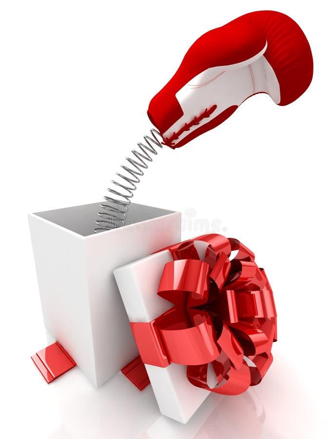 充满笑话惊奇的开放礼物盒在白色 皇族释放例证