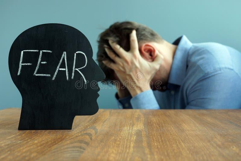 充满词恐惧的顶头形状 重音和精神疾病 免版税库存照片