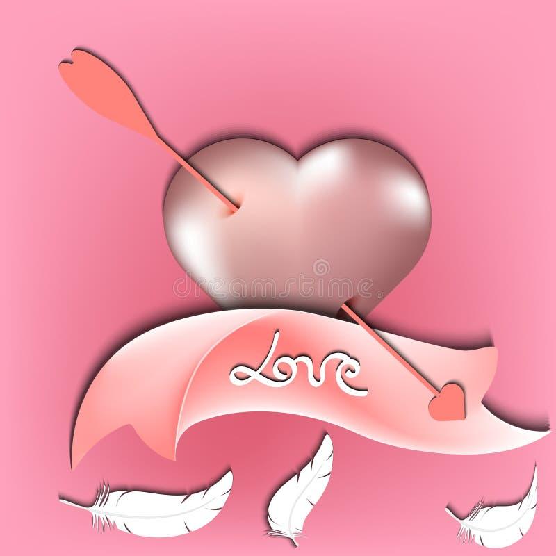 充满词爱的淡色玫瑰色丝带和上升了与纸裁减、羽毛和箭头,情人节传染媒介例证的金心脏 库存例证