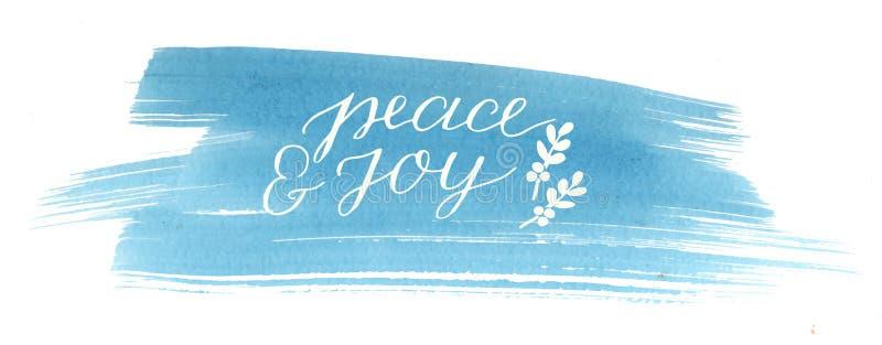 充满题字和平和喜悦的假日卡片,在蓝色水彩背景做了手字法 向量例证