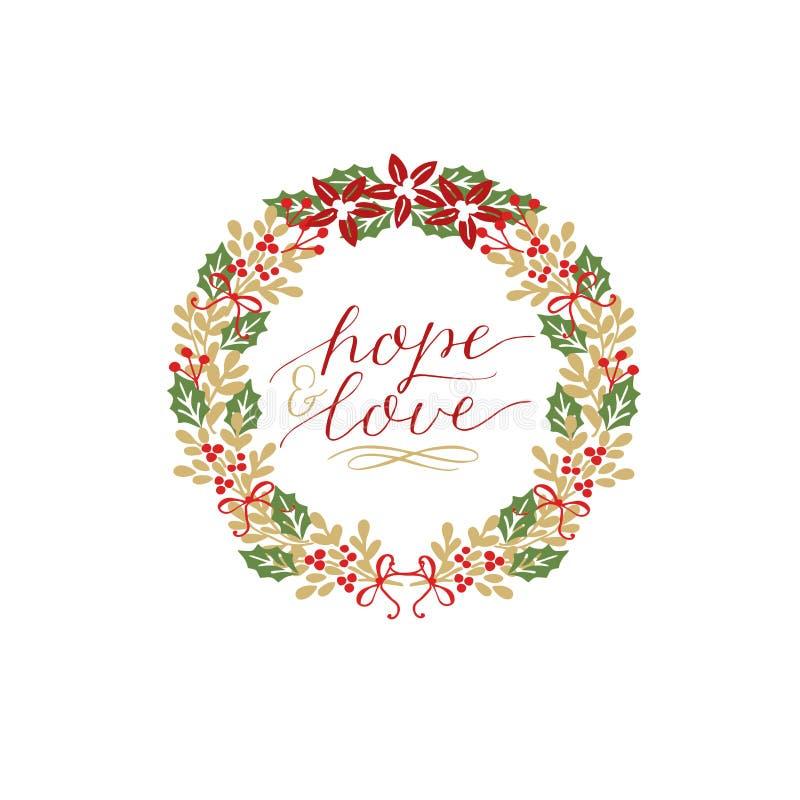 充满题字希望和爱的假日卡片,做了在一个花圈的手字法与一品红 库存例证