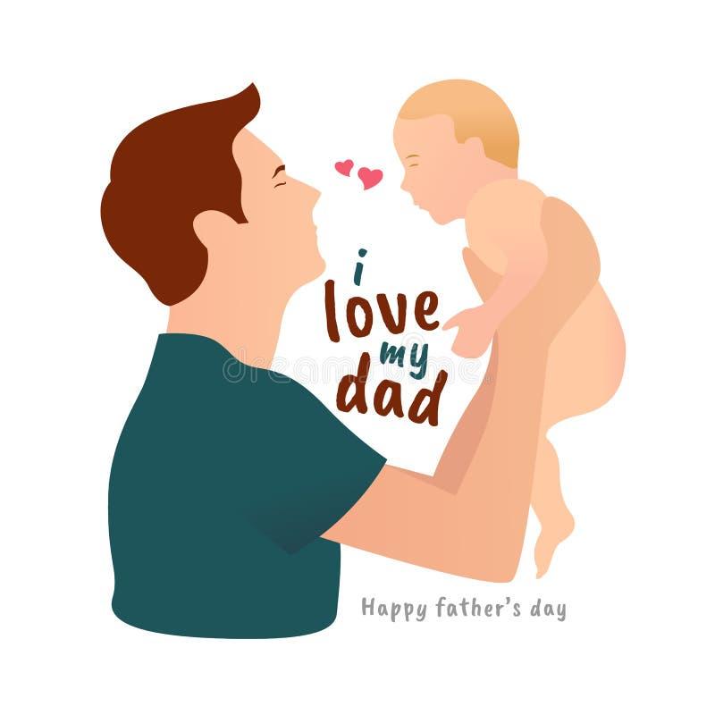 充满i爱的愉快的父亲节运载婴孩传染媒介设计的我的爸爸文本和父亲 向量例证