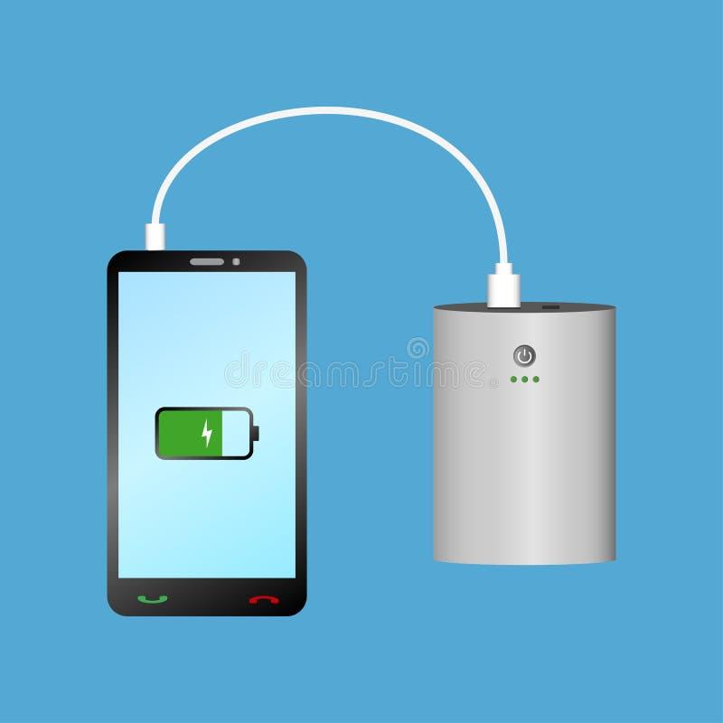 充电与力量银行的智能手机通过USB缆绳 便携式的充电器设备和电话 向量 向量例证