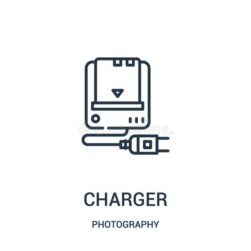 充电器从摄影汇集的象传染媒介 稀薄的线充电器概述象传染媒介例证 向量例证