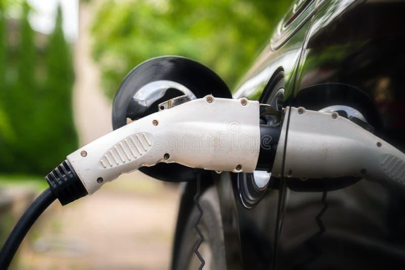 充电器在绿色环境背景接通电车 新的能量车,NEV用电力量装载 图库摄影