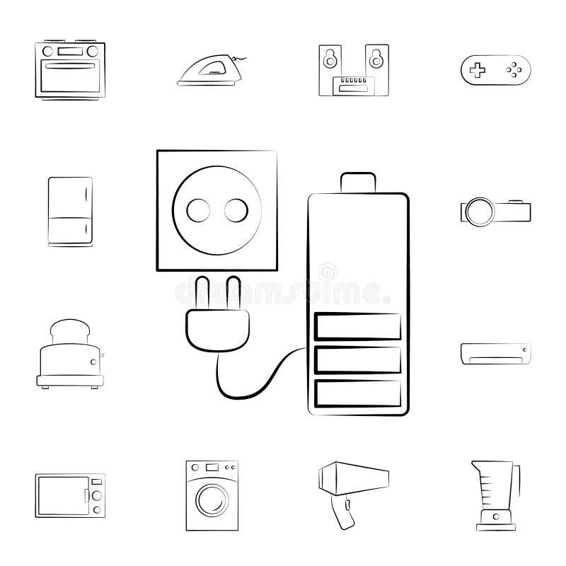 充电器象 详细的套家电 优质图形设计 其中一个网站的汇集象,网络设计, MOBIL 皇族释放例证