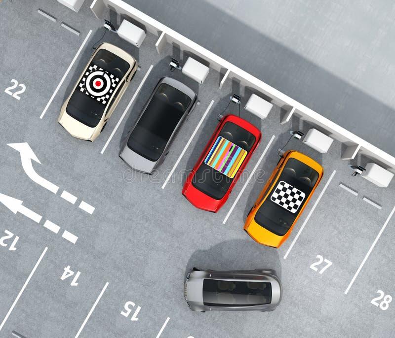 充电在停车场的五颜六色的EV鸟瞰图  皇族释放例证