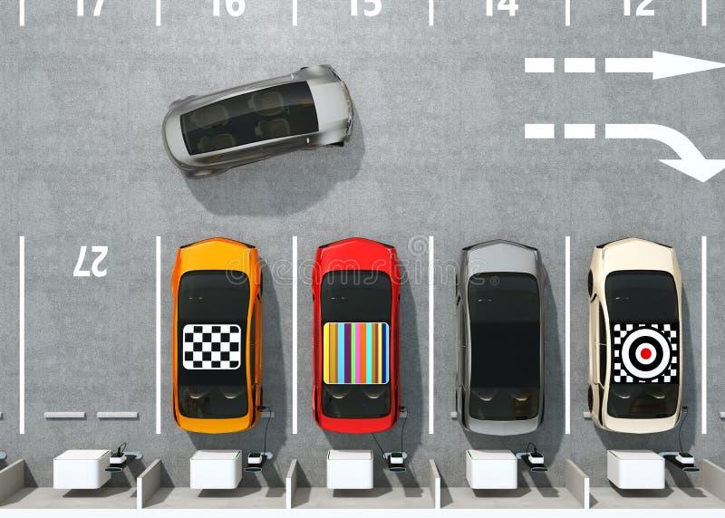 充电在停车场的五颜六色的EV鸟瞰图  库存例证