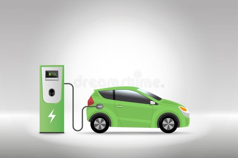 充电在充电器服务站的电车与灰色backg 皇族释放例证