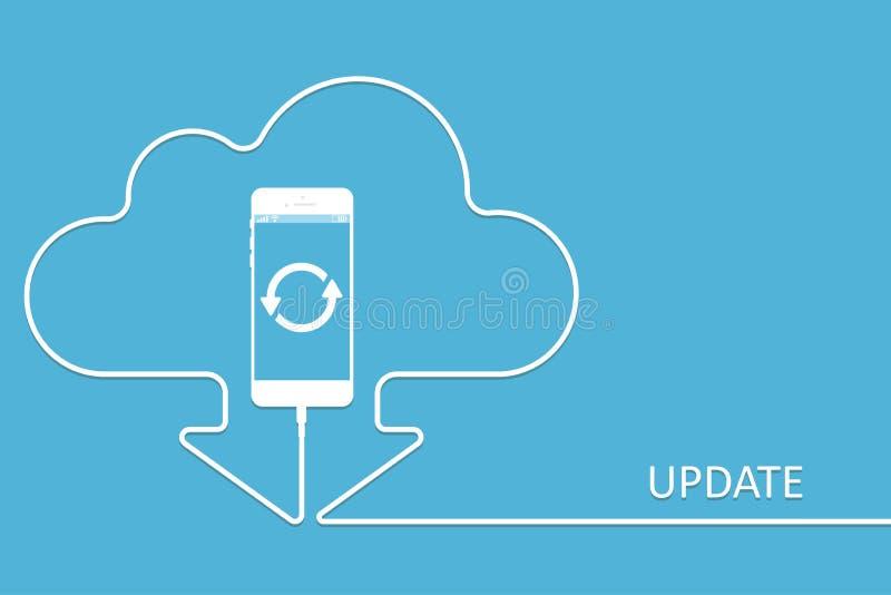 充电在样式更新app的白色电话 有线的导线云彩智能手机 下载软件Cellph 向量例证