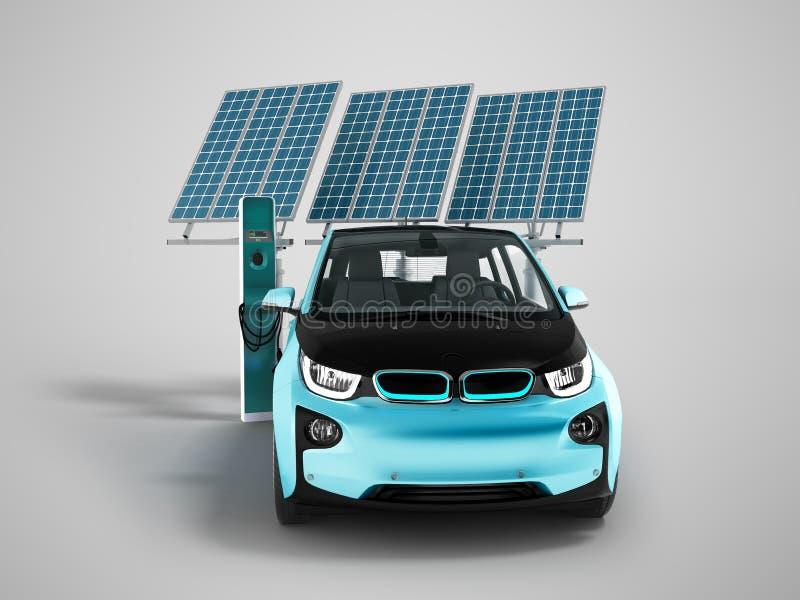充电太阳电池板的现代概念与ci的电车 库存例证
