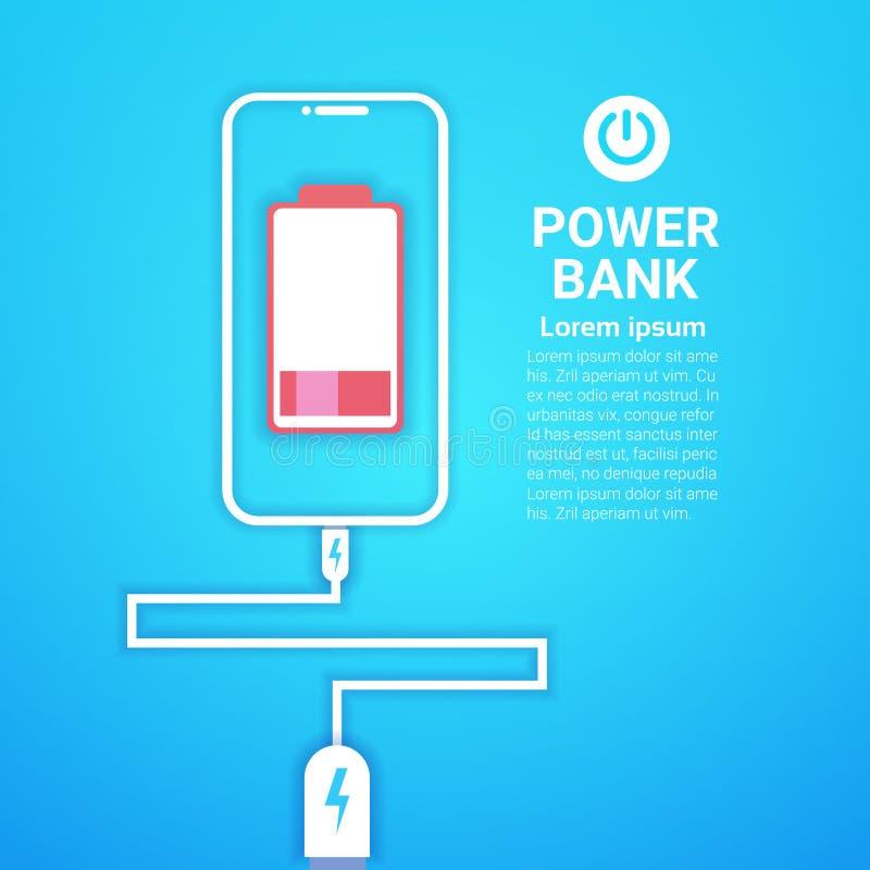 充电现代流动充电器设备概念的便携式的电池功率银行 向量例证