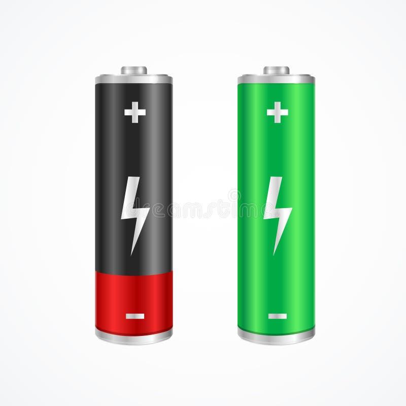 充电的概念充分和低电池 向量 皇族释放例证