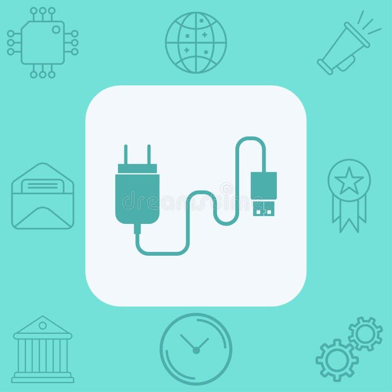 充电的适配器传染媒介象标志标志 皇族释放例证