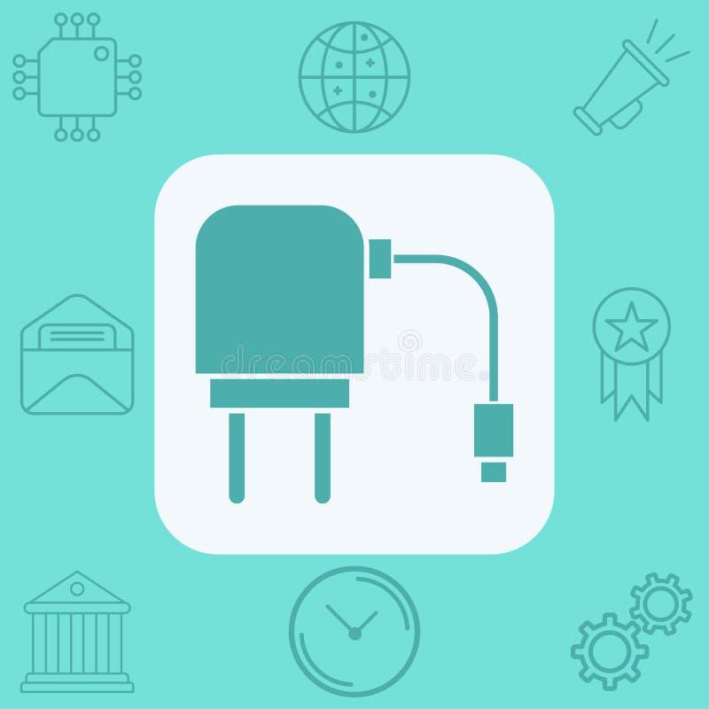 充电的适配器传染媒介象标志标志 库存例证