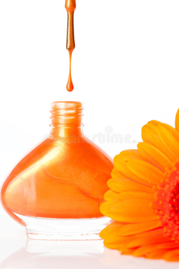 充满活力的五颜六色的橙色指甲 免版税库存照片