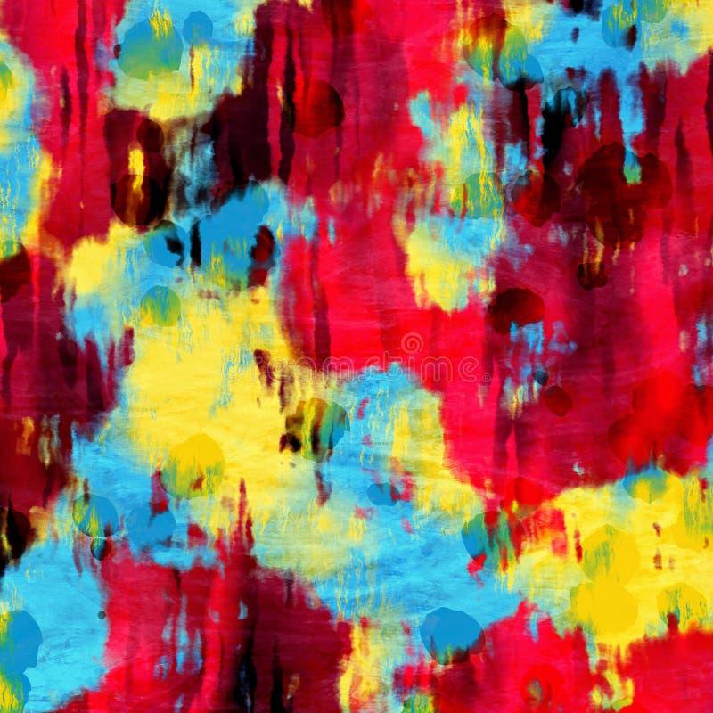 充满活力的五颜六色的滴水泼溅物油漆抽象派 库存例证