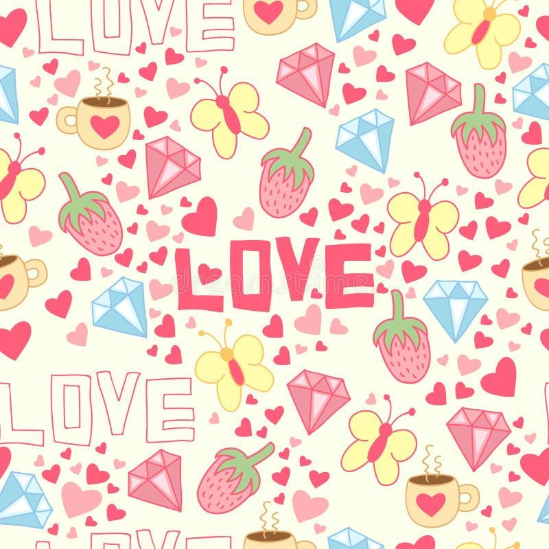 充满杯子、金刚石、心脏、草莓、蝴蝶和爱的无缝的背景 向量例证