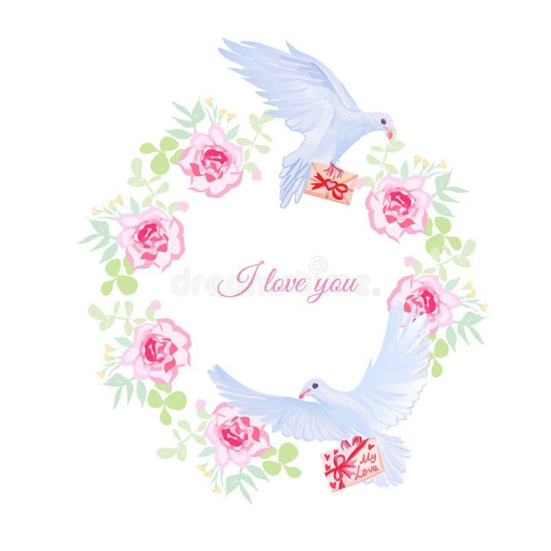 充满爱的鸠邮寄和玫瑰色花束传染媒介设计框架 库存例证