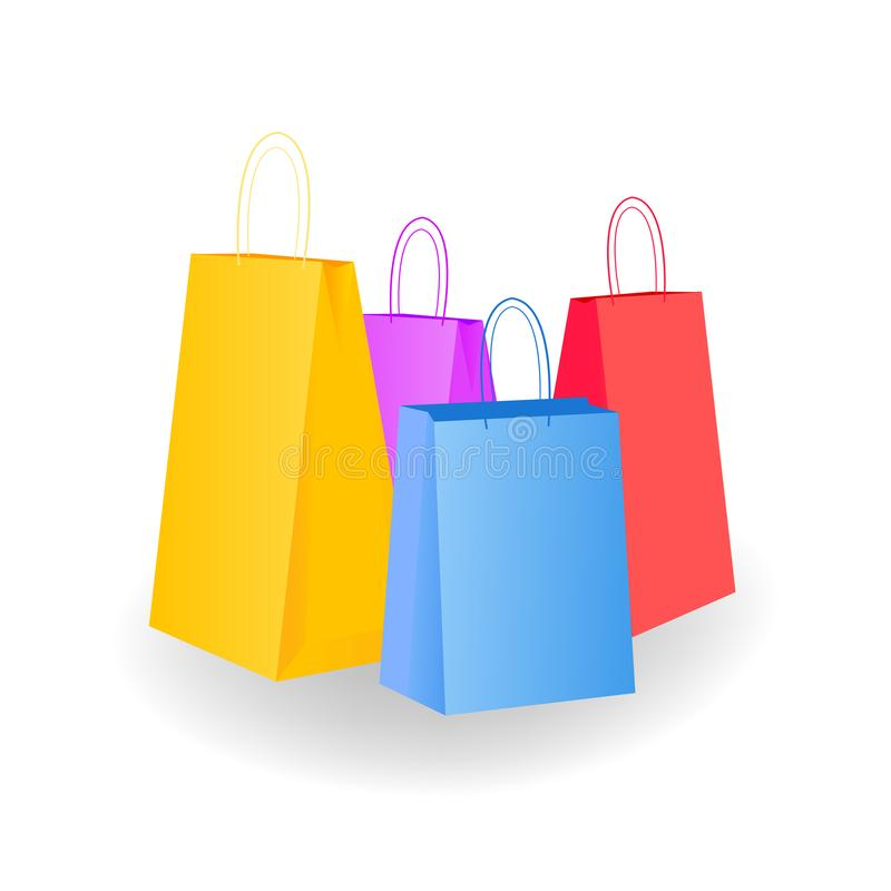 兆变异 五颜六色的空的袋子的一汇集在白色被隔绝 r 库存例证