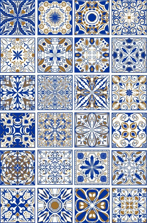 兆套传统西班牙或葡萄牙陶瓷和瓦器装饰物瓦片 向量例证