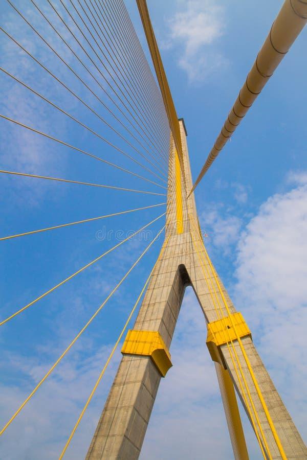 兆桥梁在曼谷(Rama 8桥梁) 免版税图库摄影