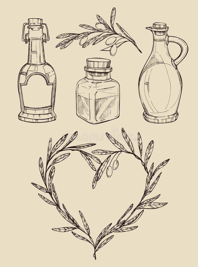 兆葡萄酒集合 手拉的传染媒介例证-橄榄油 库存例证