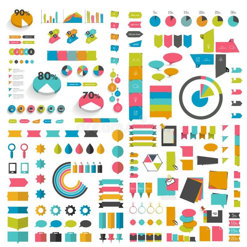 兆集合infographics平的设计元素,计划,图,按钮,讲话起泡,贴纸 皇族释放例证