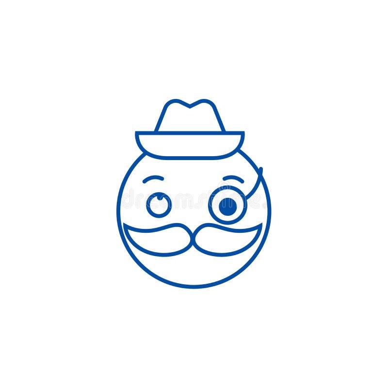 先生们emoji线象概念 先生们emoji平的传染媒介标志,标志,概述例证 向量例证