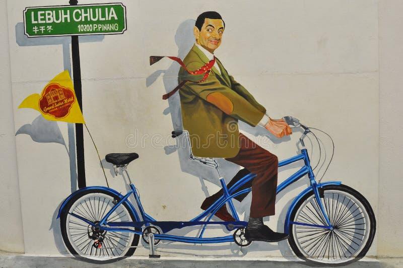 先生 在一个大厦的豆街道画在槟榔岛马来西亚 向量例证